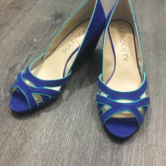 Sole Society Shoes - Two-tone blue suede wedge heel peep-toe sandals